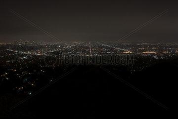 View of city lights at night  Los Angeles  California  USA