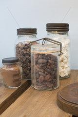 Baking ingredients in glass jar