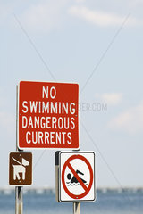 Signs prohibiting swimming due to dangerous currents and requiring dogs to be on leashes