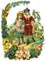 Spaziergang im Fruehling  Poesiebild  1890