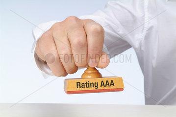 Hamburg  Deutschland  Stempel mit der Aufschrift Rating AAA