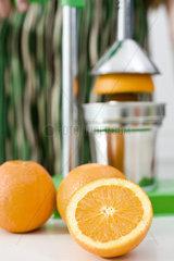 Using press to squeeze fresh orange juice