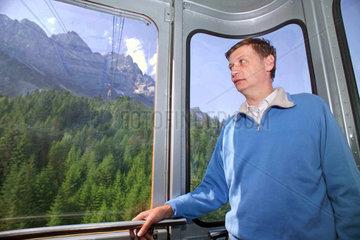 Guenther Jauch in der Seilbahn zur Zugspitze  2004