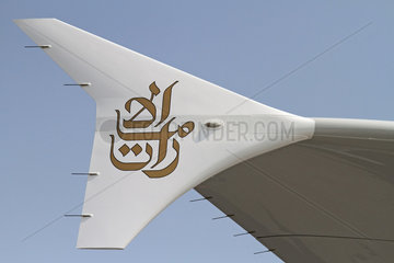 Schoenefeld  Deutschland  Wingtip Fences eines Airbus A380-800 der Fluggesellschaft Emirates
