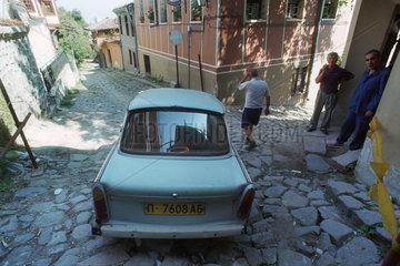 Ein Trabi in der Altstadt von Plovdiv  Bulgarien