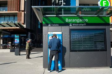 Sydney  Australien  Fahrscheinautomat fuer Faehre in Barangaroo South