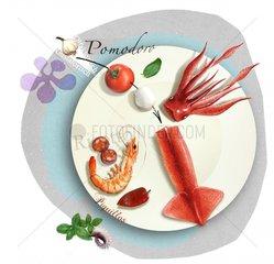 Serie Collage Food Meeresfruechte