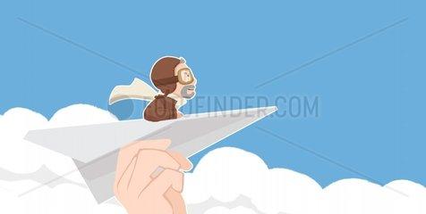 Papierfliegerpilot
