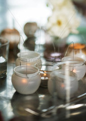 Candles on table
