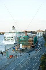 Sweden  Stockholm. construction site along harbor