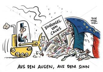 Raeumung des Lagers von Calais