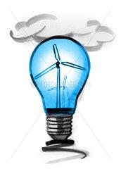 Wind turbines in light bulb