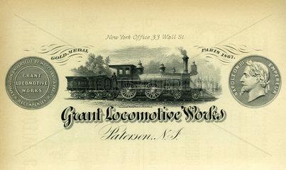 Grant Locomotive Works  Lokomotivbau  Unternehmen  USA 1880