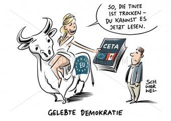 Handelspakt in Bruessel unterschrieben : EU und Kanada besiegeln CETA