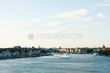 Sweden  Sodermanland  Stockholm  cruise ship crossing canal