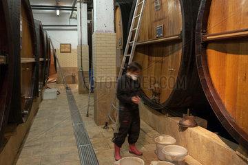 Guebwiller  Frankreich  alte Eichenfaesser in der Weinkelterei Domaines Schlumberger