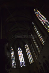 Stained glass windows inside of Saint Martin church  Colmar  France