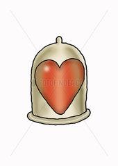 Heart inside condom
