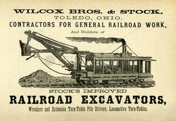 Baumaschinen fuer amerikanischen Eisenbahnbau  Werbeanzeige  USA  1880