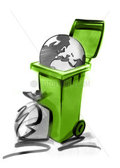 Planet in garbage can