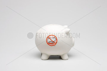 Swine flu concept  piggy bank with no pigs symbol on side