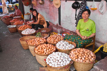 EGGS for sale at the CENTRAL MARKET in KENGTUNG also known as KYAINGTONG  MYANMAR