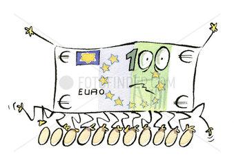 Euro bill walking on eggs