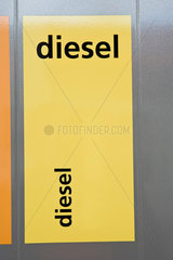 Diesel label on gas pump