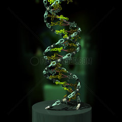 3D illustration of DNA components functionally compared to a chain link.