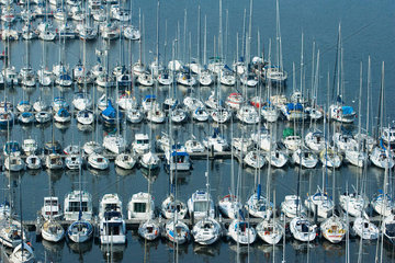 Boats moored in marina  Brittany  France