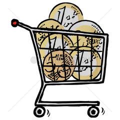 Shopping cart full of Euro coins