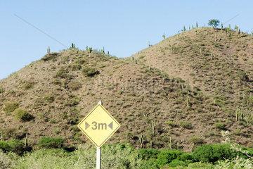 Road sign in arid landscape