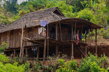 Typical ANN HOUSE in village near KENGTUNG or KYAINGTONG  MYANMAR