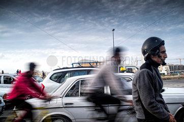 Rabat  Marokko  Verkehr auf der Avenue Hassan II