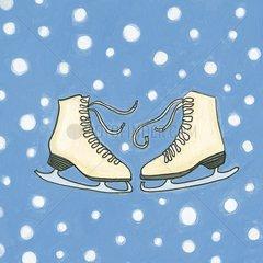 Illustration Schlittschuhe Wintersport Schlittschuhlaufen Kufen