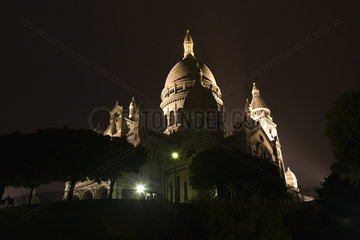 France  Paris  Montmartre  view of Sacre Coeur at night