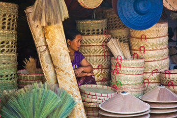 BAMBOO BROOMS  HATS and BASKETS are sold at the CENTRAL MARKET in KENGTUNG also known as KYAINGTONG  MYANMAR