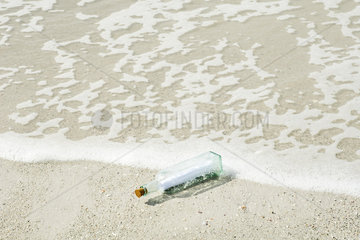 Message in a bottle washed up on shore