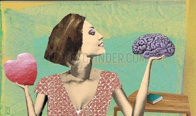 Frau waegt ab : Herz oder Hirn