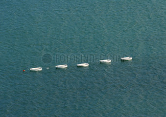 Rowboats in line in water  aerial view