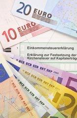Symbolbild Einkommenssteuererklaerung  Erklaerung zur Festsetzung der Kirchensteuer auf Kapitalertraege  Antrag auf Festsetzung der Arbeitnehmer-Sparzulage  Erklaerung zur Feststellung des verbleibenden Verlustvortrags  EURO-Banknoten  Faecher  Geldscheine