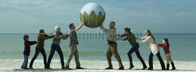 Ecology concept  group of people saving the earth together