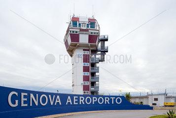 Genua  Italien  Flughafentower am Flughafen Genua