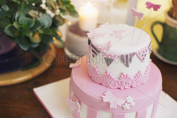 Birthday cake decorated with fondant butterflies