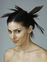 Young woman with spiky hairstyle  portrait