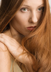 Woman with long red hair  portrait