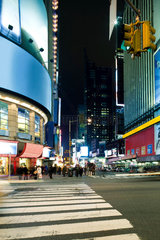 Crosswalk at intersection of W 43rd Street and Broadway at Times Square looking south down Broadway