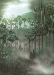 A carboniferous forest with mist rising above the waters.