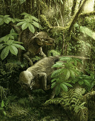 A pair of Prenocephale foraging on seed and plants of a Cretaceous forest.