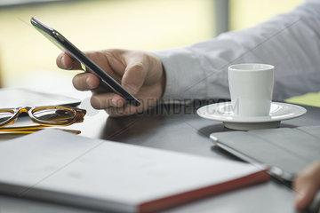 Coffee break  using smartphone